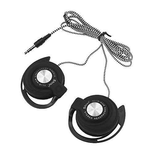 Gilroy Universal 3.5mm Plug Wired Sport Gaming Clip On Earphones Headphones Headset with Over-Ear Hooks for Smartphones Computer Tablet Laptop Black