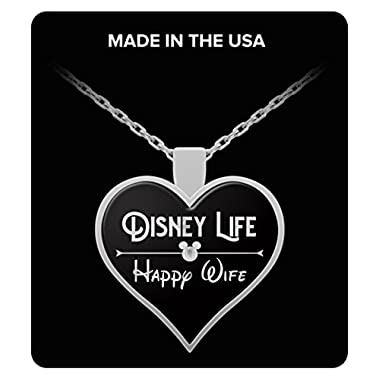 Disney Life Happy Wife Heart Necklace Gift for Women Girlfriend Disneyland Crown Princess Anniversary Jewelry