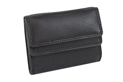 Cartera pequeña para señores Monedero para señoras RFID Monedero Protección de Informaciones privadas Cartera de Bloqueo RFID LEAS, Piel auténtica, Negro