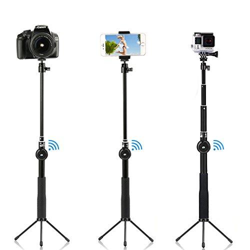Aursen Asta e Treppiedi 2 in 1 per Fotografia, Impermeabile Compatibile con Gopro e Smartphone, Bluetooth, Pulsante Autoscatto e Telescopico per Selfie Allungabile Fino a 100 cm