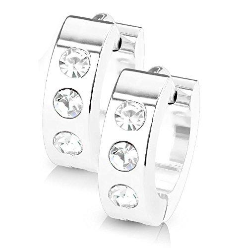 Bungsa silberne CREOLEN mit KRISTALL-STEINEN SET - silberne EDELSTAHL Klappcreolen - Klapp-Ohrringe silber mit 3 gefassten klaren Steinen - für Damen & Herren - 1 Paar Silver Kristall Kreolen