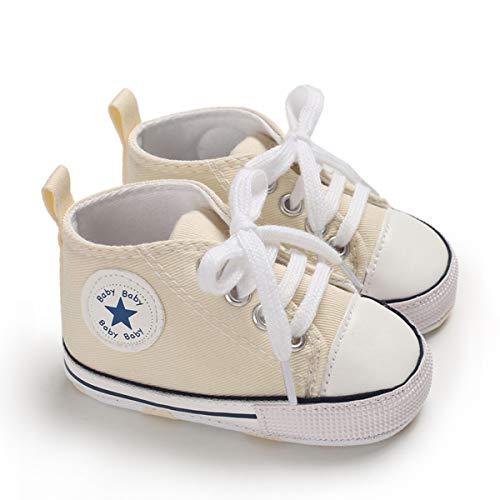 DEBAIJIA Bebé Primeros Pasos Zapatos de Lona6-12M NiñosAlpargata Suave Antideslizante Ligero Slip-on 18 EU Beige (Tamaño Etiqueta-2)