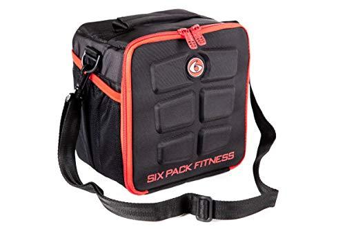 6 Pack Fitness Cube Mahlzeit Management Sporttasche | Fitnesstasche inkl. Dosen und Kühlpacks Meal Management, Lunchbox (red)
