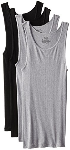 Hanes Men's 4-Pack ComfortSoft Moisture Wicking Tagless Tanks, Assorted, X-Large