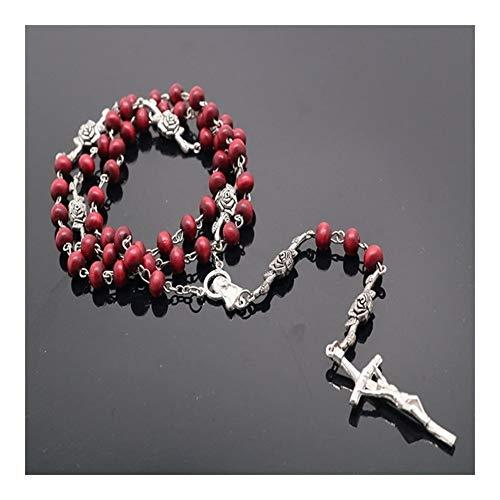 FKJSP 6mm perfumado Rosario Collar del Rosario católico, Rojo Redondo Cuentas de Madera Collar de la Cruz Rosario Collar (Metal Color : X020)