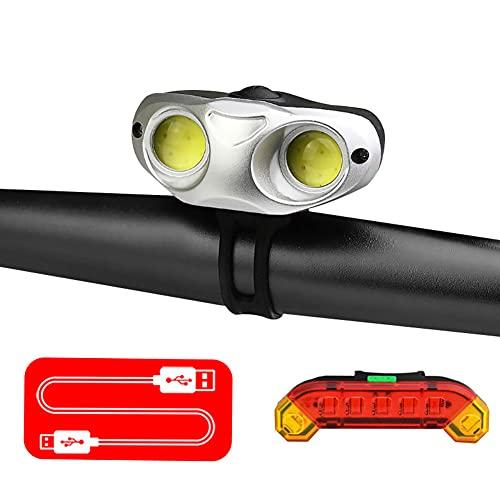 SAHWIN Luz Bicicleta, Luces Bicicleta Recargable USB IPX5 Impermeable,Luces Bicicleta Delantera Y Trasera con 3 Modos,Luz LED Bicicleta para Carretera Y Montaña- Seguridad para La Noche