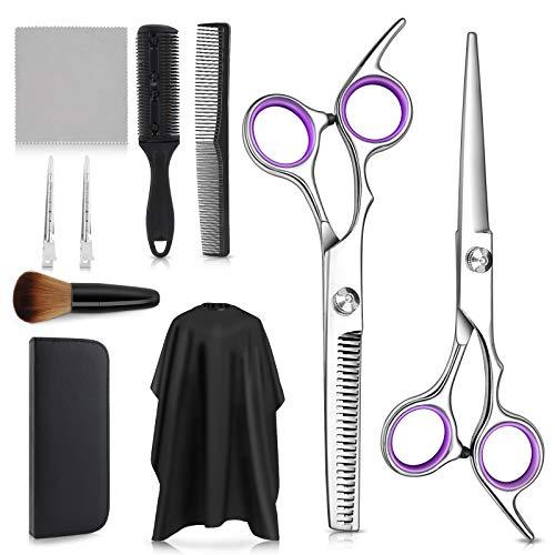 Tijeras Peluquería Profesional,Tijeras Peluquelo Profesional para el cabello, Tijeras de Peluquería con Capa de Barbero y Peine de Maquinilla de Afeitar