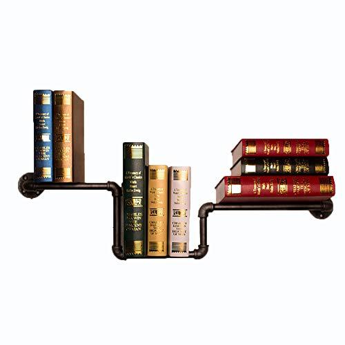 LXDDP Industrierohr Regale Bücherregal - Rustikale Wandregal Eisen Wasserpfeife Design DIY schwimmende Regal - Effekt Wandregal & hängende Kleiderhaken Rack (schwarz)