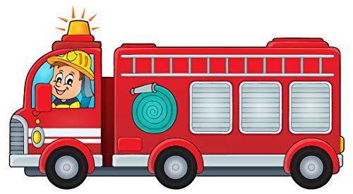 dekodino® Wandtattoo Kinderzimmer Feuerwehrmann mit Feuerwehrauto Deko