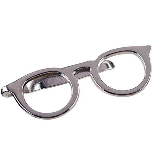 Haptian Hombres Gafas Barras de Lazo Pin Broche para Boda Traje de Negocios Corbata Accesorios de Regalo(Plata)