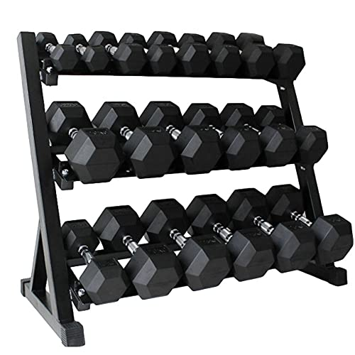 Vortex 5lb to 50lb Pairs Hex Rubber Dumbbell set heavy 550lbs total with 3-Tier Rack