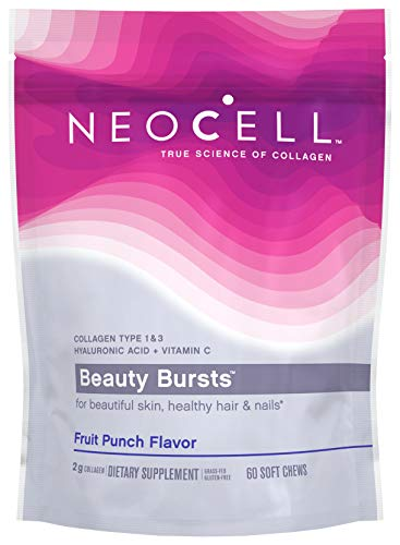 NeoCell Beauty Bursts Collagen Soft Chews, 2,000mg Collagen Types 1 & 3, Fruit Punch Flavor, 60 Count (Package May Vary)