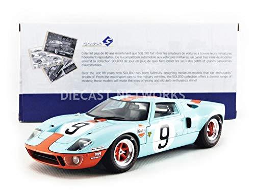 Solido S1803001 Ford GT40 MK1#9, Bj. 1968, 24h Le Mans, Modellauto, 1:18, blau/orange