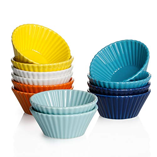 Sweese 528.002 Porcelain Baking Cups, Mini Muffin Pan, Non-Stick Cupcake Set, Alone Cupcake Holder, Sauce Dishes, Set of 12, Hot Assorted Color