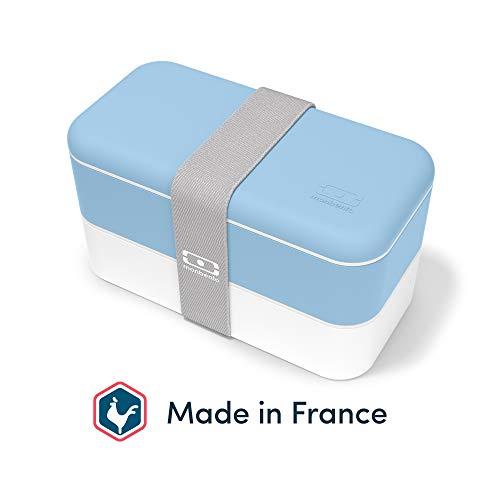 monbento - MB Original Bleu Crystal bento Box Bleu Made in France - Lunch Box hermétique 2 étages - Boîte Repas idéale pour Le Travail/école - sans BPA - Durable et sûre