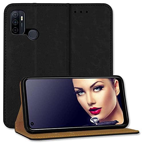 mtb more energy® Leder-Tasche Bookstyle für Oppo A53, A53s (6.5'') - schwarz - Echtleder - Schutz Hülle Wallet Cover Hülle