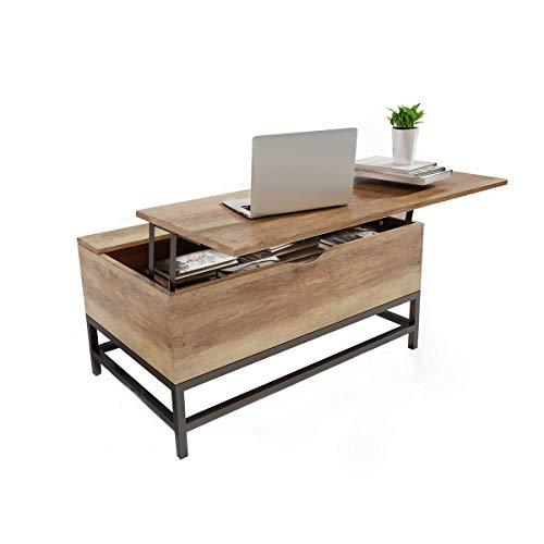 Happy Home Hubtisch Couchtisch mit großem, verstecktem Stauraum für Wohnzimmer-80x48x40cm
