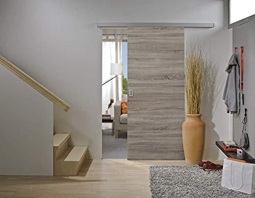 Rahmenlose Holzschiebetür in Wildeiche | Maße des Türblattes: 900 x 2035 mm | Inkl. Beschläge und einer oberen Laufschiene in 2 Metern | Geeignet als Zimmertürersatz