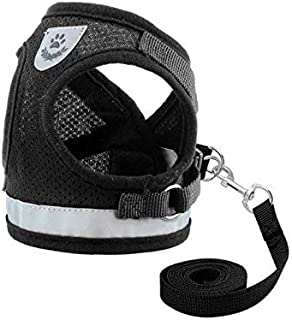 Dog and Cat Universal Harness with Leash Set, Escape Proof Cat Harnesses - Adjustable Reflective Soft Mesh Corduroy Dog Ha...
