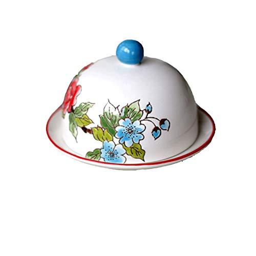 JR2021FF Placa de Mantequilla de cerámica con Labio Redondo, Plato de Mantequilla Pintado a Mano, artículos de Cocina decoración de Cocina Fiesta Festiva vajilla Creativa, Azul