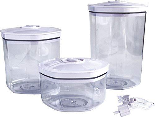 Maxxo VC1800 3 Universal Vakuumbehältern (0,7/1,4 / 2l) professionelle Vakuumierer Dosen Lebensmittel behälter für alle Vakuumiergeräte kommen mit dem Schlauch!