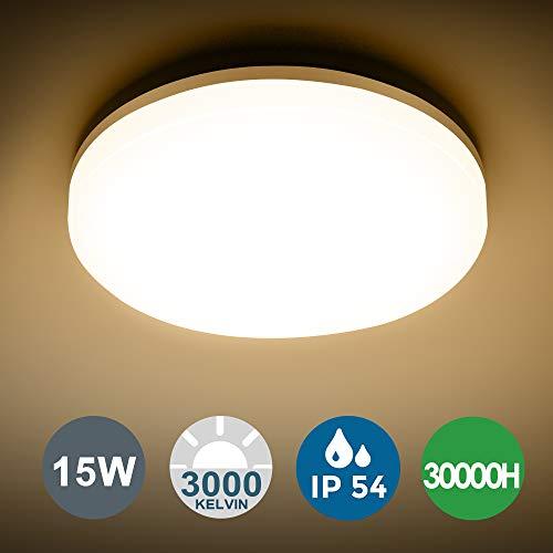 LED Deckenleuchte Bad, SUNZOS 15W IP54 Wasserdichte Badlampe, 3000K warmweiß LED Deckenlampe, 1350lm Lampen Ideal für Badezimmer Schlafzimmer Flur Küche Balkon, 22cm Durchmesser