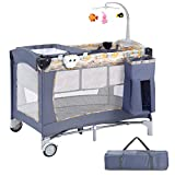 Costzon Baby Playard, 3 in 1 Portable Playpen with Bassinet, Travel Bassinet Bed, Foldable Toddler Bassinet Bed with Music Box, Wheels & Brake, Basket, Oxford Carry Bag for Boys Girls (Gray)