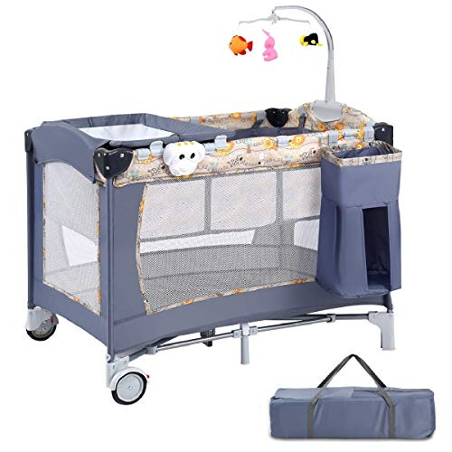 Costzon Baby Playard, 3 in 1 Portable Playpen with Bassinet, Travel Bassinet Bed, Foldable Bassinet Bed with Hanging Toys, Music Box, Wheels & Brake, Large Capacity Basket, Oxford Carry Bag(Gray)