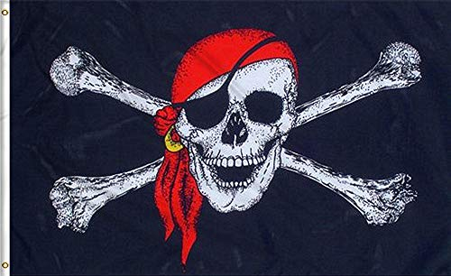 Aimto 3x5 FT Jolly Roger (Red Scarf) Flag - Halloween Flags Bright Colors Anti-Fading Materials - Pirate Flags Polyester Canvas Brass Buttonhole - Quality Assurance