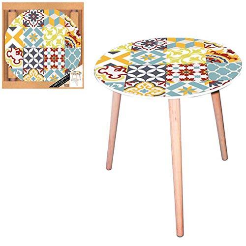 Les Trésors De Lily [Q5145 - Table Ronde résine 'Boho' Multicolore (Carreaux de mosaïque) - 40 cm