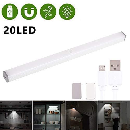 Onder kastverlichting lamp, 20 LED draadloos onder kastlamp met ingebouwde oplaadbare batterij, magnetische strip Stick-On kast, kast, kast, keuken, trap, enz