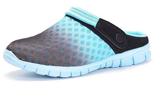Zuecos Hombres Mujeres Unisex Zapatillas de Playa Sandalias Piscina Vernano Zapatos de Jardín Respirable Malla Casual Pantuflas - Negro Cielo Azul, 45 EU