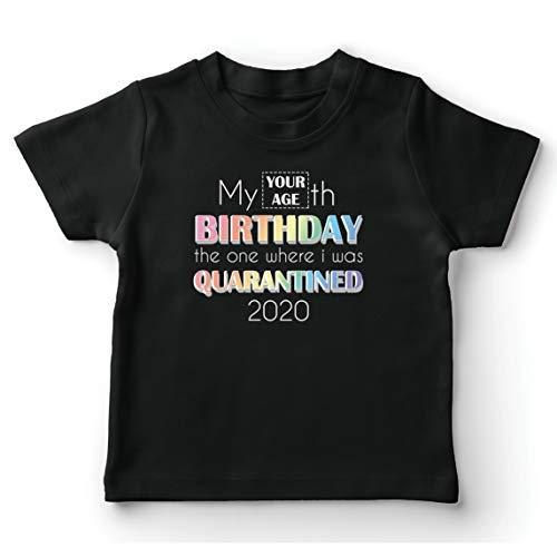 lepni.me Maglietta per Bambini/Ragazzi 2020 Distanza Sociale Quarantena Personalizzata Regalo di Buon Compleanno (12-13 Years Nero Multicolore)