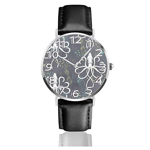 Watches Reloj de Pulsera Analógico Monoaguja de Cuarzo para Hombre Reloj para Hombre de Cuarzo Calamar Medusa Mar Náutico con Correa en Cuero