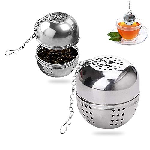 MELARQT Teesieb Teefilter 4 cm Teeei Tee Sieb mit Kette, 2 Stück TeeSieb die Edelstahl sehr feines Mesh Balls für losen Tee und Mulling Gewürze