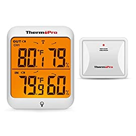 ThermoPro TP63A Waterproof Indoor Outdoor Thermometer Digital Wireless Hygrometer Humidity Gauge Temperature Monitor… 5 【Accurate Reading】Wireless temperature and humidity monitor provides accurate humidity and temperature readings for both inside and outside simultaneously, accuracy within ±2°F and ±2~3%RH; °F or °C Selector 【Cold-resistant & Waterproof】Weather thermometer hygrometer with completely sealed remote sensor contains rechargeable lithium battery technology to monitor humidity and temperature as low as -31°F/-35°C, assuring transmission in rain or snow 【200ft Remote Range】Indoor/outdoor thermometer wireless measures indoor outdoor temperature and humidity percentages from 200ft/60m away; Sync up to 3 outdoor remote sensors, track environmental conditions in up to 4 locations with additional remote sensors; Search B072BY1M2V/ B07M6SCWZR/ B07RDPYK1K to purchase additional sensors