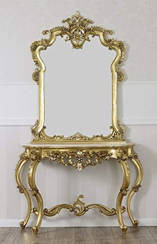 Simone Guarracino Console avec Miroir Rosa Maria Style Baroque Français Feuille Or marbre crème Pierres Cristal SW