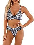 heekpek Bikini Traje de baño Conjuntos Playa Ropa Bañador a Cuadros Tanga Top Triángulo Relleno Braga con Volantes para 2 Piezas Mujer Sexy(Cuadros,M)