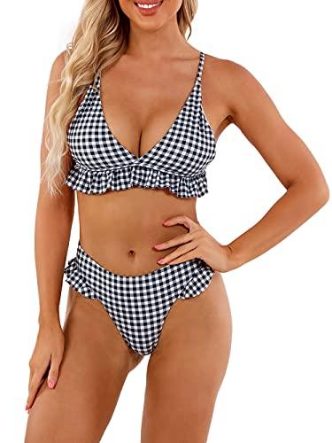 heekpek Costumi da Bagno Donna Push Up Sexy Costume Bagno Mare Bikini Spaghetti Straps Due Pezzi Spiaggia Bikini Beachwear Swimwear