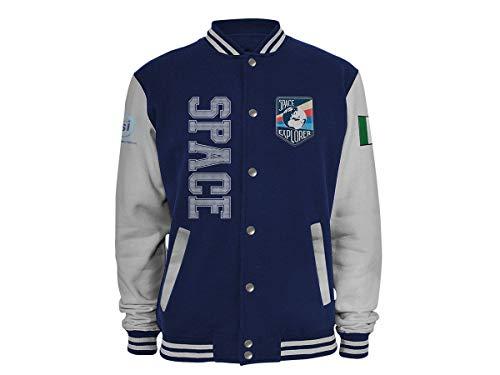 The South Dream Agencia Espacial Italiana Bomber de sudadera azul con rayas de contraste tono sobre el tono en la canalina, bolsillos de rosca, botones a presión turquesa S