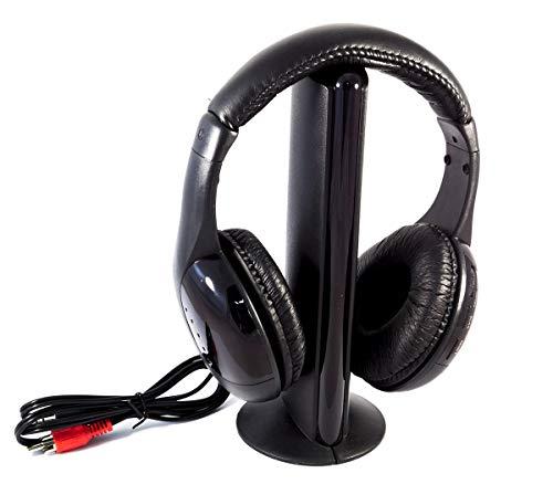 SLS SHOP Cuffie wireless 5 in 1 senza filo con microfono integrato per pc tv dvd radio fm mp3 audio