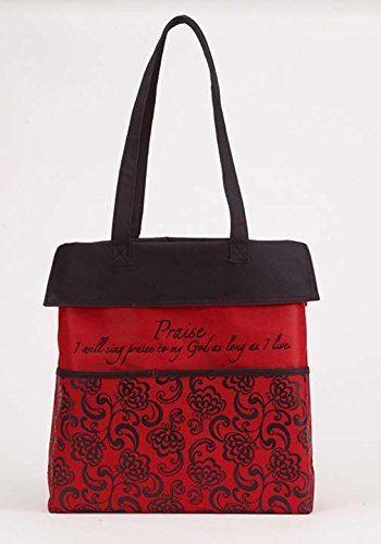 Faithworks Inspirational Floral Purse/Tote Bag, 13.5 x 14-Inch, Black/Red