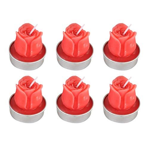 Uonlytech 6 Stück Rose Schwimmende Blütenblätter Blumenkerze Rosenform Wachs wasserdichte Schwimmende Kerzen Teelicht Nachtlicht für Hochzeitsvorschlag Home Party Dekor (Rot)