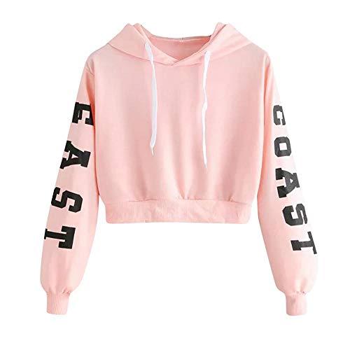 YEBIRAL Damen Hoodie Mädchen Kapuzenpulli Briefdruck Bauchfrei Pullover Oberteile Kurz Sport Crop Tops Sweater Sweatshirt Sweatjacke(S,Rosa)