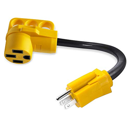 OPL5 15Amp to 50Amp RV Power Adapter 15Male/50Female Camper RV Electrical Converter Adapter Power Cord Cable Heavy Duty RV Adapter Plug with Grip Handle, 125V 1875W-12 inches (15A Male to 50A Female)