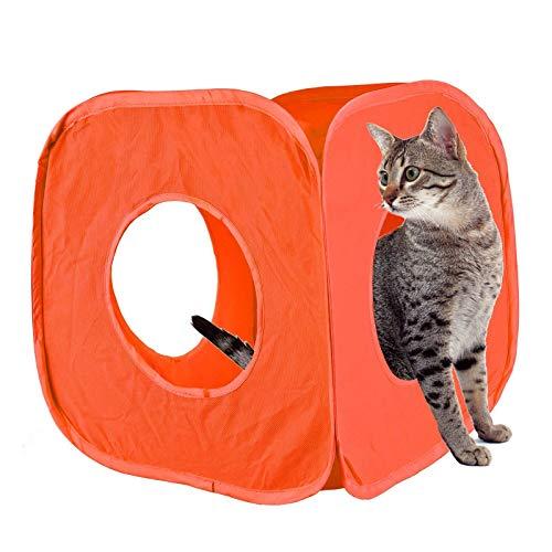 huisdier leven pop up kat kitten spelen kubus leuk sterk doos voor kat konijn speelgoed, One size 38cm approx, ORANJE