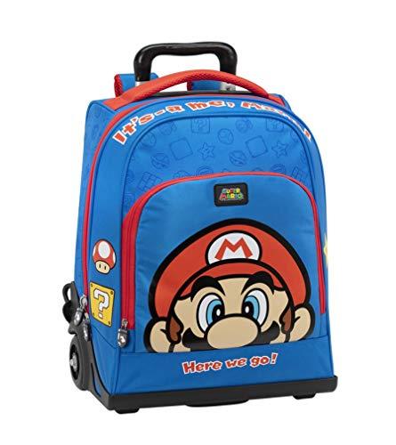Super Mario Bros - Zaino/Trolley Organizzato Blu - Dimensioni 47x23x35 cm
