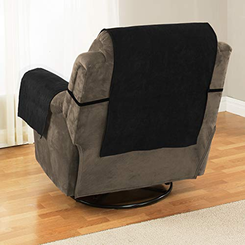 "Link Shades Anti-Slip Recliner Armchair Protector | Water Resistant Microsuede Slipcover | Stay-Put Straps | Cover Protects from Dogs & Other Pets (Recliner, up to 23"" seat Size, Black)"