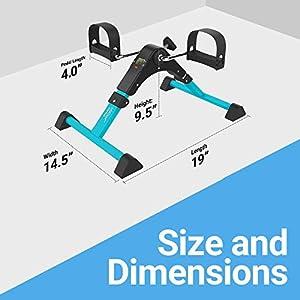 Aduro Sport Foldable Pedal Exerciser, Stationary Under Desk Exercise Equipment for Arm/Leg/Foot Peddler Exercise (Teal/Black)