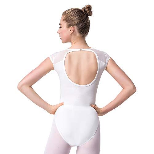 Bezioner Maillot de Danza Leotardos de Ballet Gimnasia Body Clásico para Mujer y Niñas Blanco M